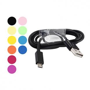 USB Male to Micro USB Male Cable for Samsung Galaxy S4/S3/S2 and HTC/ZTE/Nokia/Sony (Assorted Colors)