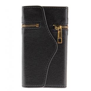 Wallet Design PU Leather Case with Zipper for iPhone 5/5S