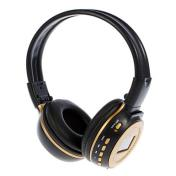 Digital Wireless On-Ear Headphone with SD Card Slot and LCD Screen N65 (Black,Gold)